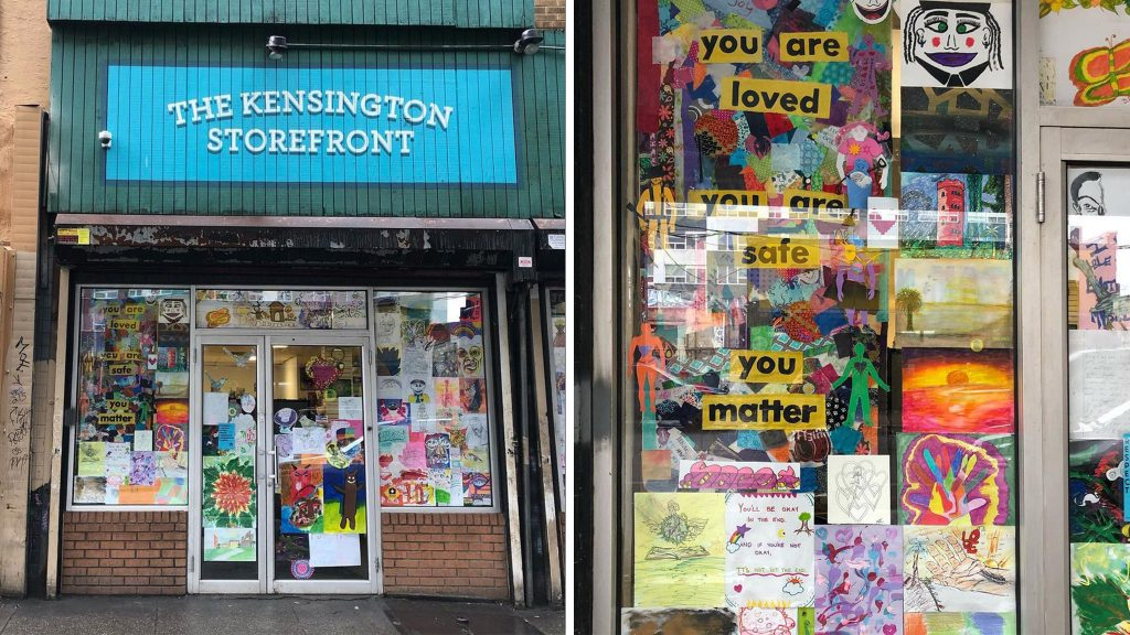 Photo of Kensington Storefront building with windows covered in art and creative projects